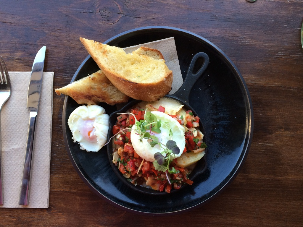 Confit Potato, Romesco Salsa, Taleggio, Poached eggs