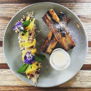 New menu item - French toast, chocolate, custard, mango, coconut