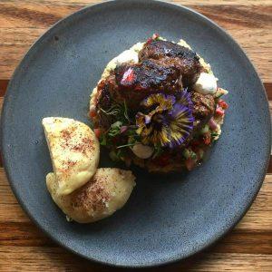 Lamb Kofte wth cauliflower hummus, fattoush, labne & sumac bread.