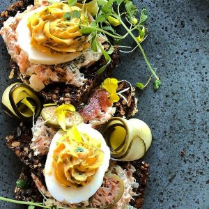 Salmon rillette - Rye toast, devilled eggs, dill, caperberries, pickle