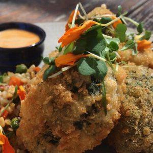 Bang bang broccoli - Panko, brown fried rice w peas, carrot, zucchini, shallot, soy