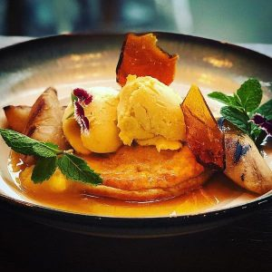 Ricotta hotcake - New York cheesecake, caramel pear, citrus curd